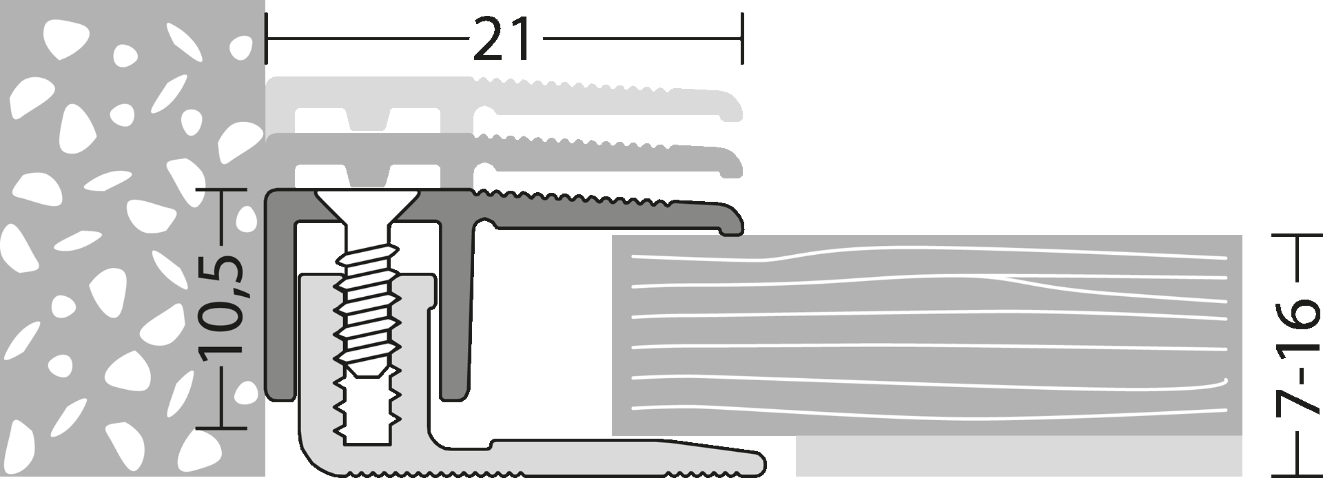 Details Abschlußprofil für Laminat & Parkettböden